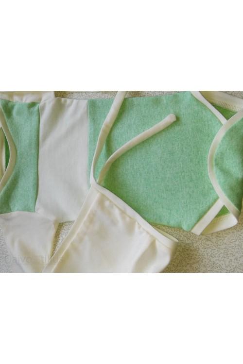 Komplektas bodis+kepurė žalia-balta