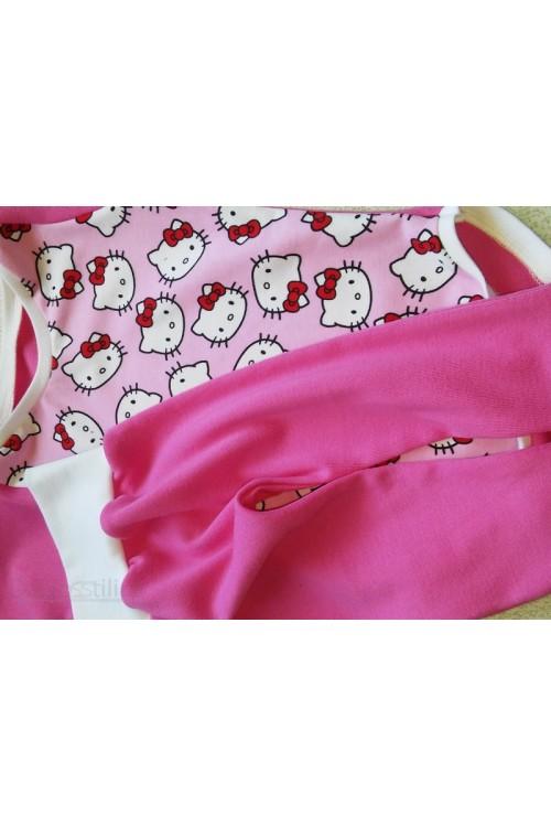 Komplektas kelnės+bodis rožinės spalva(katės)