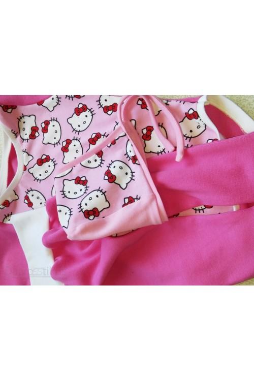 Komplektas kelnės+bodis+kepurė rožinės spalva(katės3)